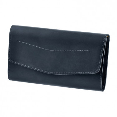 Шкіряна сумка жіноча Combi Clutch dark blue leather