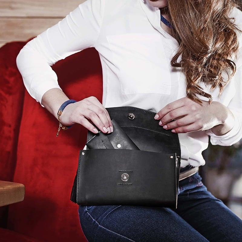 Сумка женская Combi Clutch Velours black leather