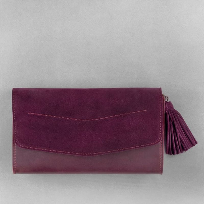 Сумка жіноча Combi Clutch Velours burgundy leather