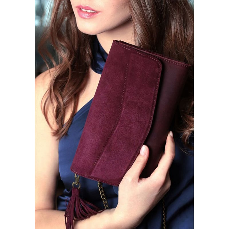 Сумка женская Combi Clutch Velours burgundy leather