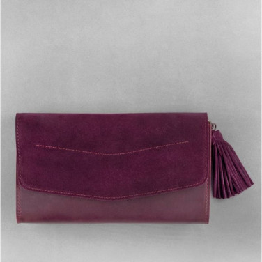 Сумка жіноча Combi Clutch Velours burgundy leather
