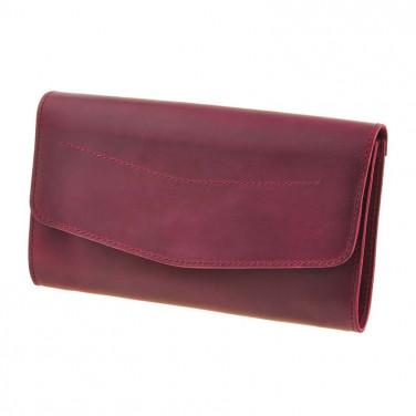 Шкіряна сумка жіноча Combi Clutch burgundy leather