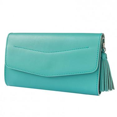 Шкіряна сумка жіноча Combi Clutch blue leather