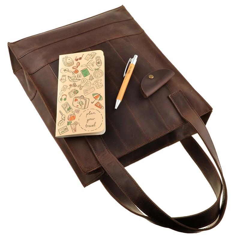 Шкіряна жіноча сумка Shopper brown leather