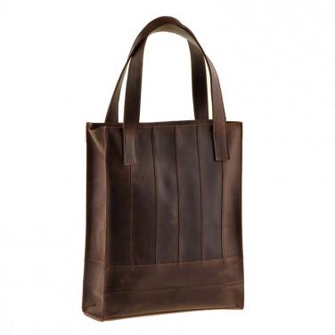 Кожаная женская сумка Shopper brown leather