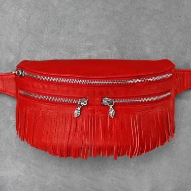 Сумка жіноча Lumbar bag red leather