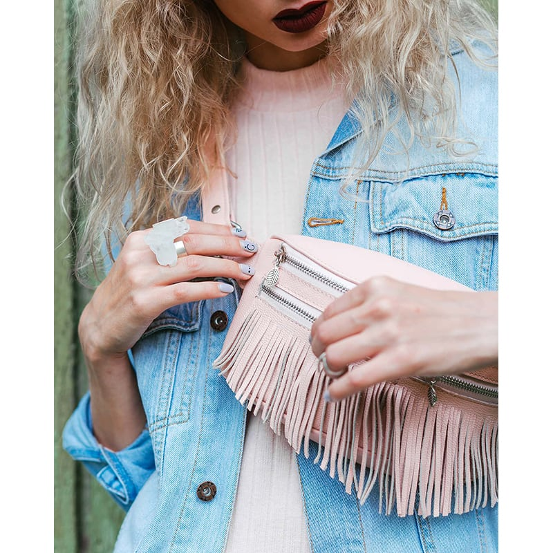 Сумка женская Lumbar bag pink leather