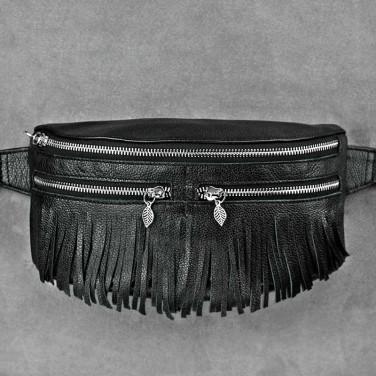 Сумка жіноча Lumbar bag black leather