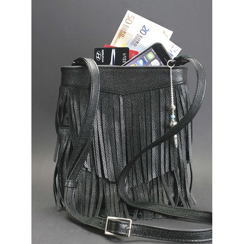 Кожаная сумка женская Cross-body bag black leather