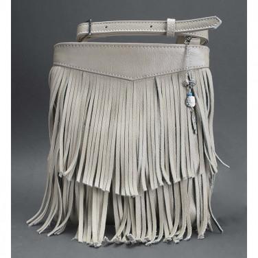 Шкіряна сумка жіноча Cross-body bag cream leather