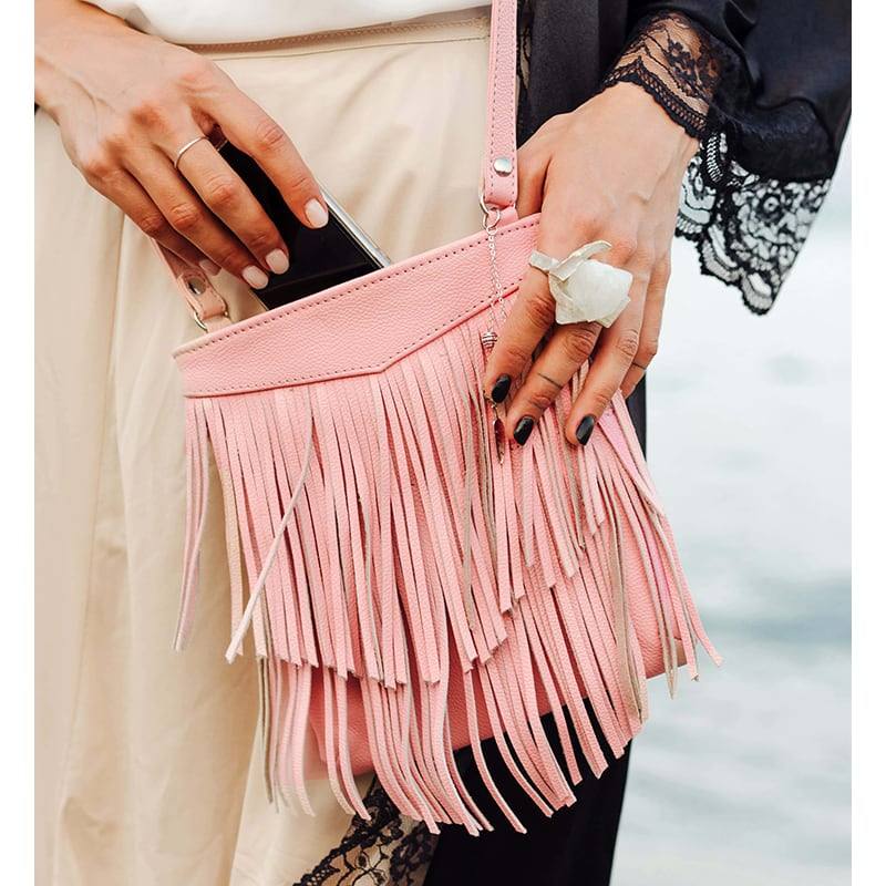 Шкіряна сумка жіноча Cross-body bag pink leather