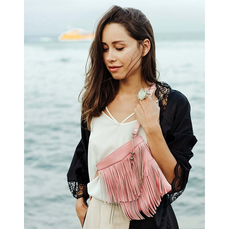 Кожаная сумка женская Cross-body bag pink leather