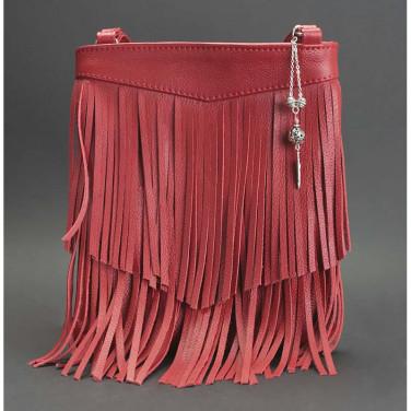 Кожаная сумка женская Cross-body bag red leather