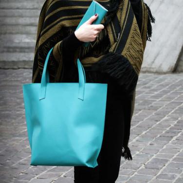 Сумка жіноча шкіряна Shopper blue leather