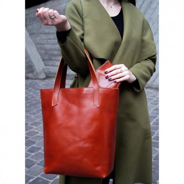 Сумка жіноча шкіряна Shopper brown leather