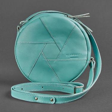 Кожаная сумка женская Hat box blue leather