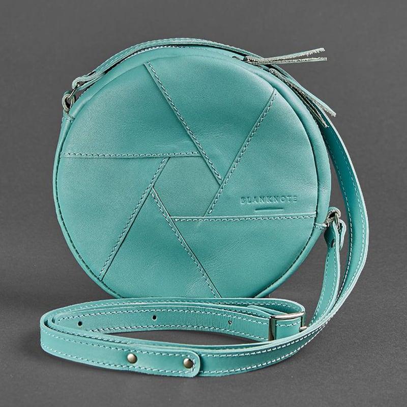 Шкіряна сумка жіноча Hat box blue leather