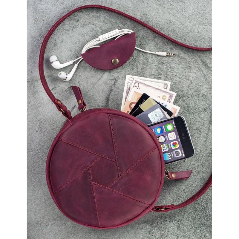 Шкіряна сумка жіноча Hat box vinous leather