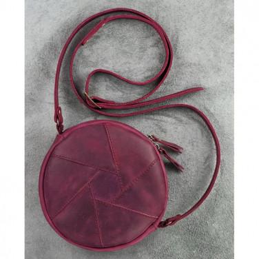 Кожаная сумка женская Hat box vinous leather