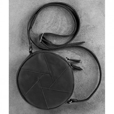 Кожаная сумка женская Hat box black leather