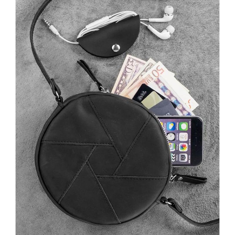 Шкіряна сумка жіноча Hat box black leather