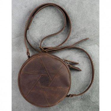 Кожаная сумка женская Hat box brown leather