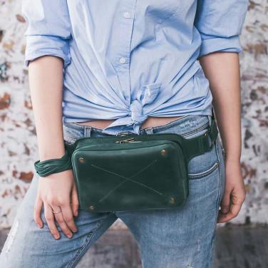 Сумка кожаная женская Fanny pack green leather