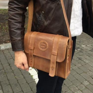 Мужская кожаная сумка Messenger bag brown leather