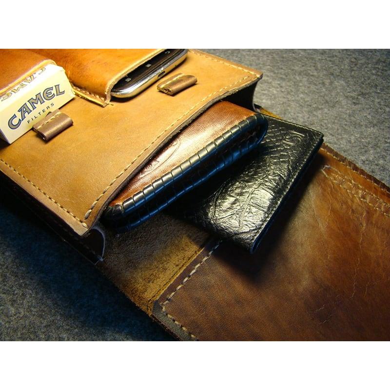 Сумка мужская кожаная Baguette bag brown leather