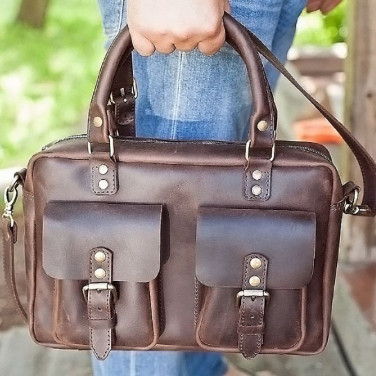 Мужская сумка через плечо Мessenger bag brown leather