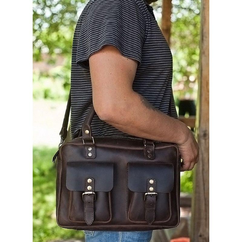 Чоловіча сумка через плече Меѕѕепдег bag brown leather