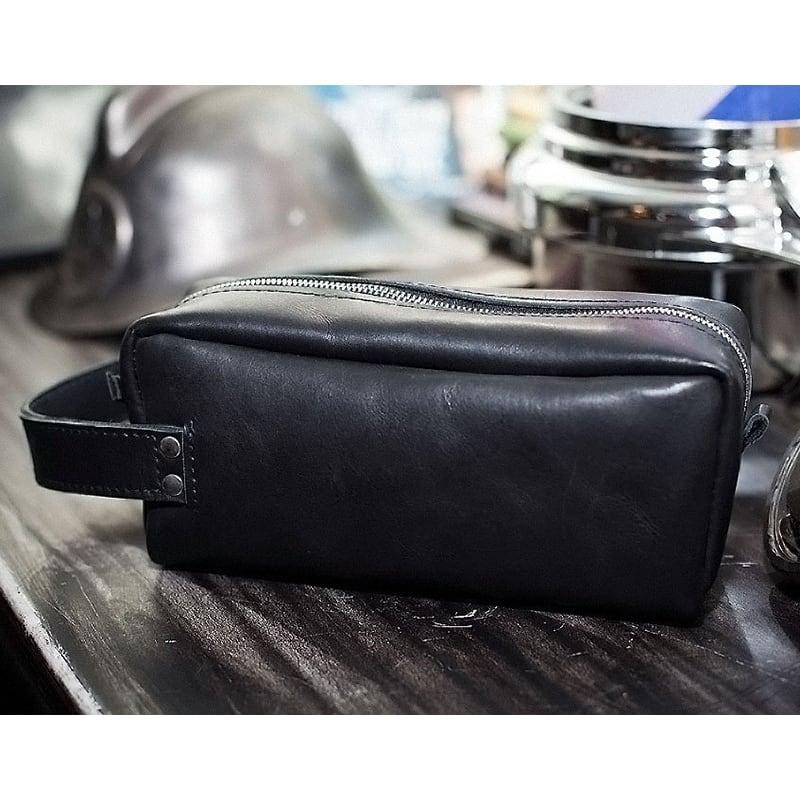 Косметичка чоловіча Duffle bag black leather