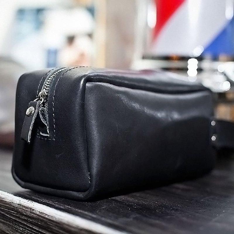 Косметичка мужская Duffle bag black leather