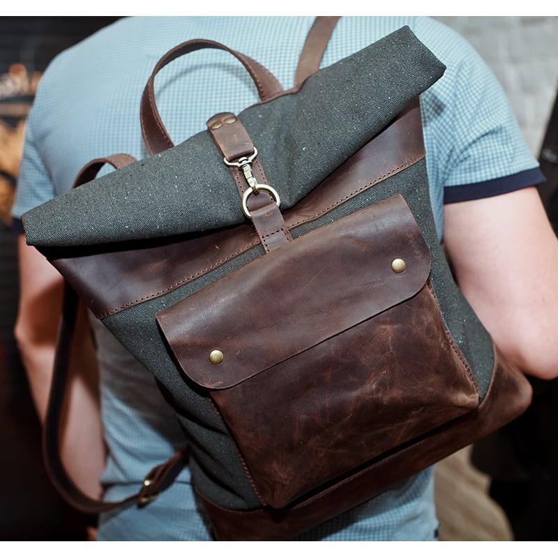 Сумка чоловіча Backpack brown leather