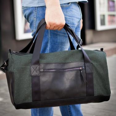 Сумка мужская Duffle bag black leather