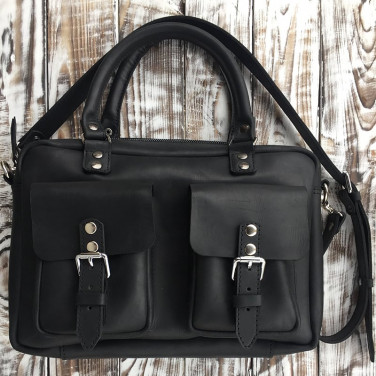 Сумка чоловіча Slouchy satchel black leather