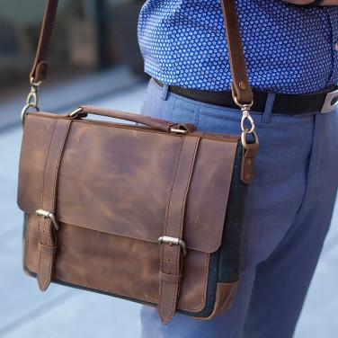 Сумка мужская кожаная Satchel bag brown leather