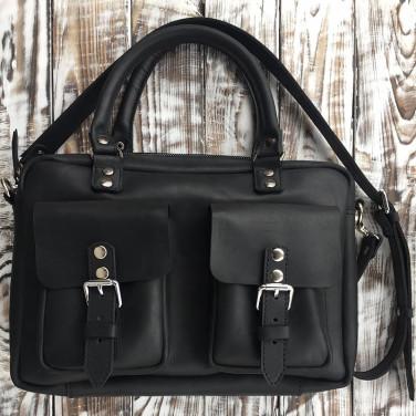 Сумка мужская Slouchy satchel black leather