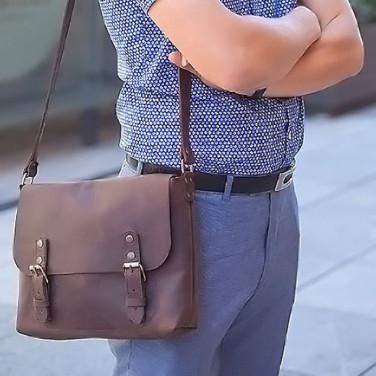 Сумка чоловіча шкіряна Messenger bag brown leather