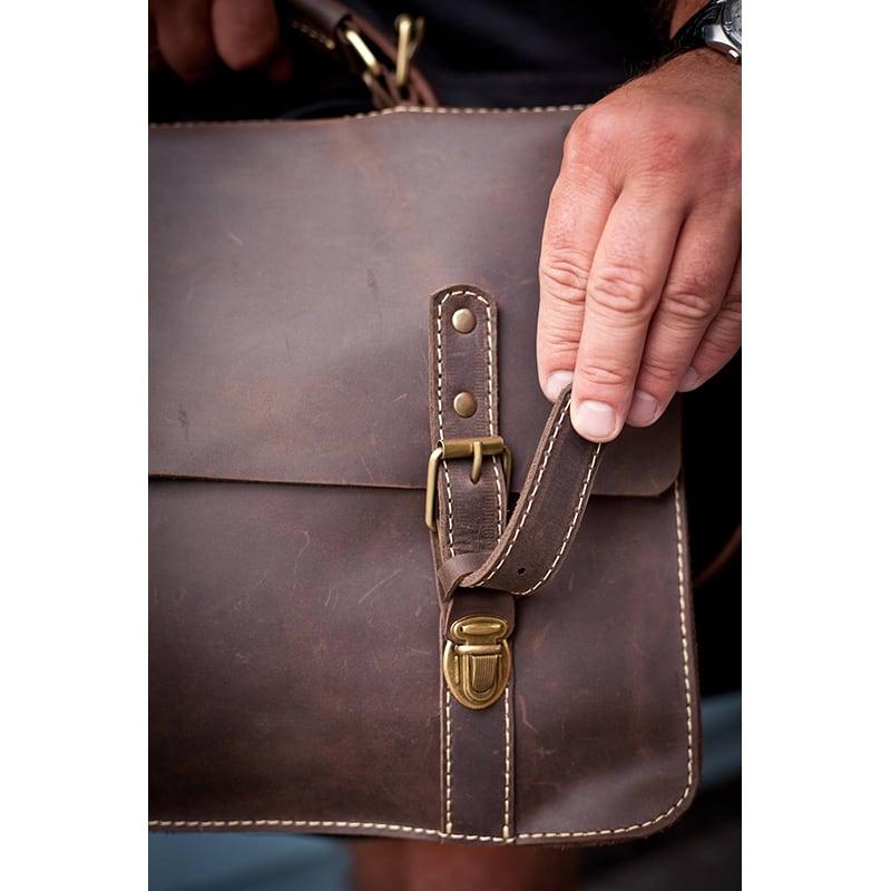 Сумка мужская кожаная Satchel bag brown full leather