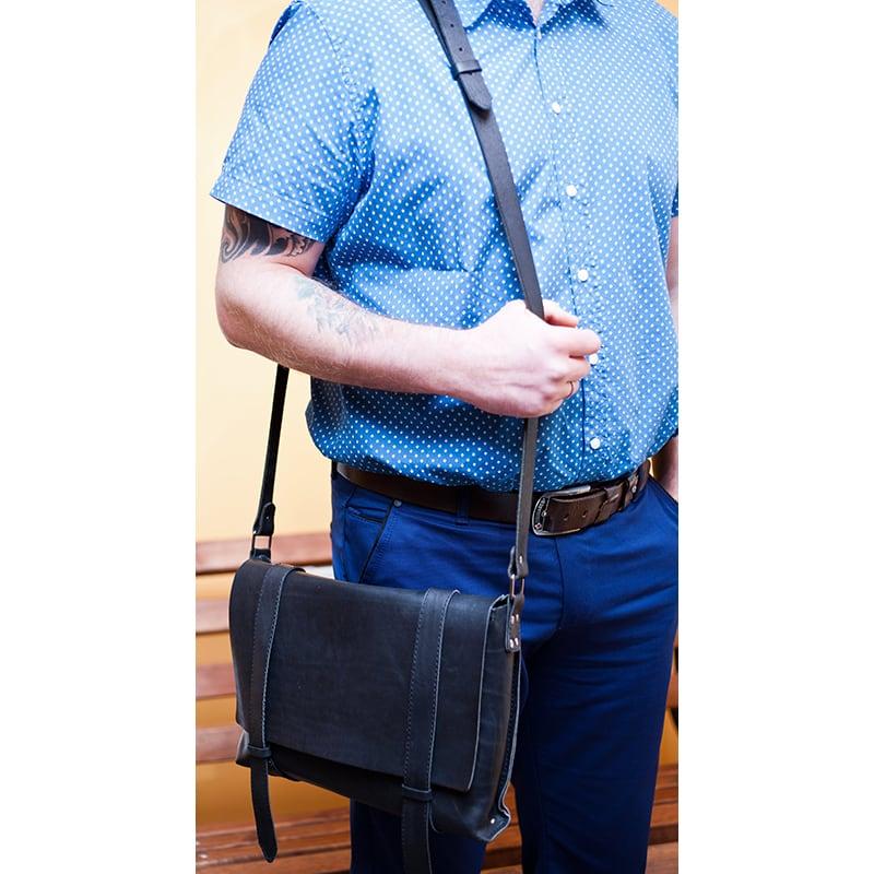 Сумка чоловіча через плече Сrossbody bag black leather
