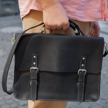 Сумка мужская Satchel bag black leather