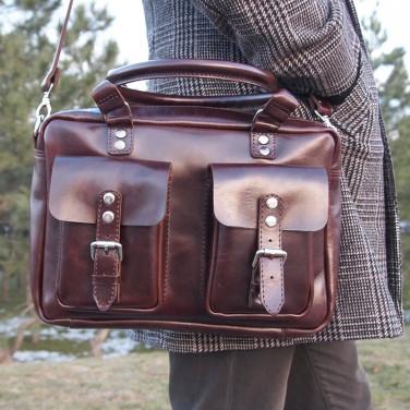 Сумка мужская Slouchy satchel maroon leather
