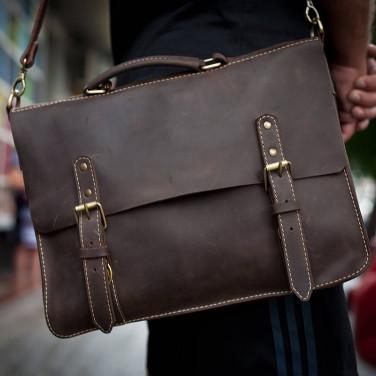 Сумка чоловіча шкіряна Satchel bag brown full leather