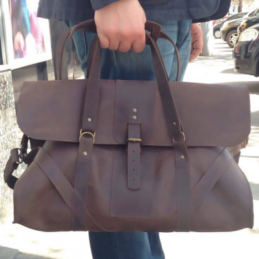 Сумка чоловіча Duffle bag vinous leather