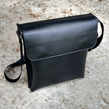 Кожаная сумка Crossbogy bag black leather