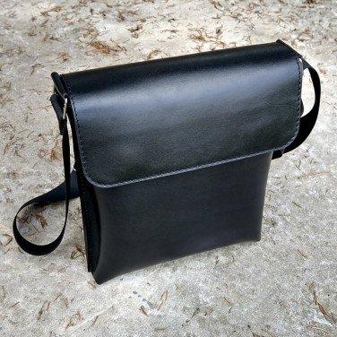 Кожаная сумка Crossbogy bag black leather