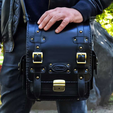 Сумка мужская Messenger bag Casual black leather