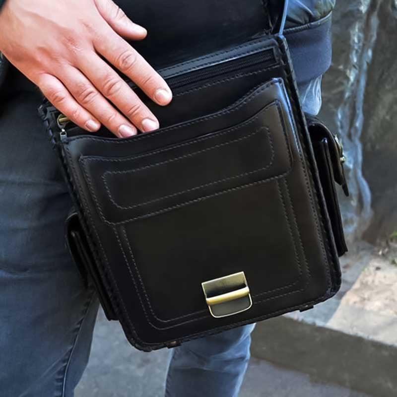 Сумка мужская Messenger bag Casual black leather