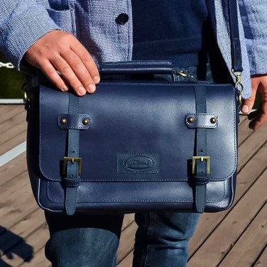 Чоловіча сумка Messenger bag Naval blue leather
